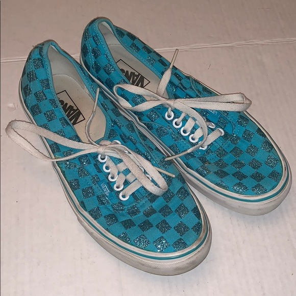 Vans Blue Glitter Checkerboard Sneakers
